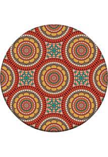 Tapete Love Decor Redondo Wevans Mandala Laranja 84Cm