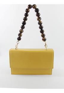 Bolsa Crifael Couro Mostarda - Amarelo - Feminino - Dafiti