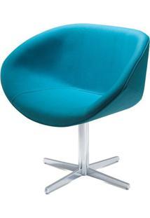 Poltrona Smile Assento Estofado Em Linho Alecrim Base Fixa Em Aluminio - 55844 - Sun House