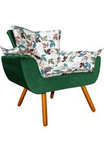 Poltrona Decorativa Opala Compos㪠Estampado Floral D68 E Veludo Verde Esmeralda - D'Rossi - Verde - Dafiti