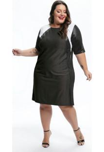 Vestido Plus Size Cinza Com Mangas Cirrê