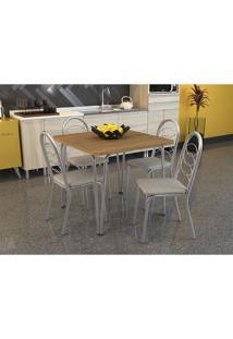 Conjunto De Mesa Amur Com 4 Cadeiras Holanda Cromado Linho Marrom Crome Kappesberg