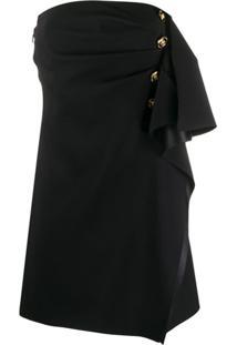 Versace Vestido Com Detalhe De Babados - Preto