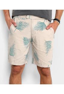 Bermuda Foxton Bolso Faca Print Folhas Masculina - Masculino-Bege