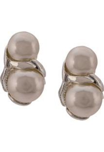 Sophie Buhai Double Pearl Earrings - Prateado