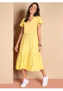 Vestido Midi Amarelo Com Babados E Mangas Amplas