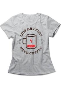 Camiseta Feminina Coffee Battery - Feminino-Mescla