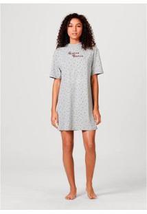 Camisola Em Malha Estampada Hering Feminina - Feminino-Cinza