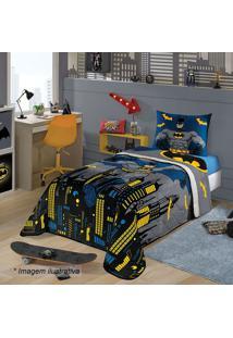 Edredom Dupla Face Batman® Solteiro- Azul & Cinza- 1Lepper