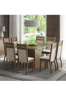 Conjunto De Mesa Com 8 Cadeiras Louise Suede Rustic E Pérola