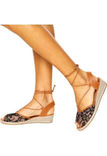 Sandália Dafiti Shoes Amarração Renda Preto