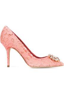 Dolce & Gabbana Scarpin Bellucci 90 Com Renda - Rosa