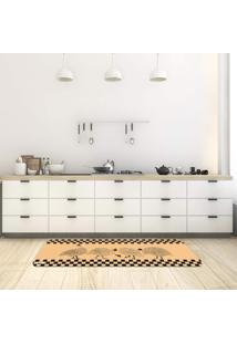 Tapete De Cozinha Mdecore Galinha D`Angola Bege 40X120Cm