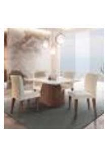 Conjunto De Mesa De Jantar Luna Com Tampo Off White E 4 Cadeiras Grécia Veludo Creme E Café