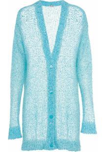 Miu Miu Cardigan Com Paetês - Azul