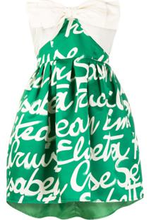 Elisabetta Franchi Vestido Godê Com Estampa De Logo E Detalhe De Laço - Verde