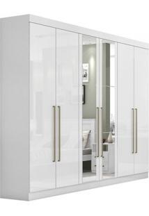 Guarda Roupa Casal Com Espelho 6 Portas 6 Gavetas Castellaro Móveis Lopas Branco