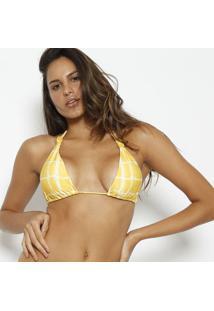 Soutien Cortininha Abstrato- Amarelo & Brancovix
