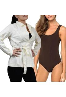 Kit Casaco Trench Coat Fino Meia Estação + Body Lupo Trend Feminino - Feminino-Marrom