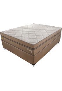 Cama Box Com Colchão Casal Toronto Mola Ensacada (70X138X188) Dourado E Bege