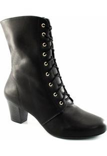 Bota Cano Médio Cadarço Numeração Grande Sapato Show - Feminino-Preto