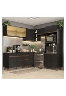 Cozinha Completa De Canto Madesa Reims 402002 Com Armário E Balcão Preto Preto