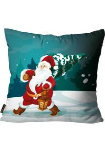 Capas Para Almofada Premium Cetim Mdecore Natal Papai Noel Verde 45X45Cm
