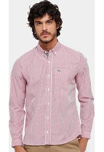 Camisa Lacoste Listras Bolso Regular Fit Masculina - Masculino