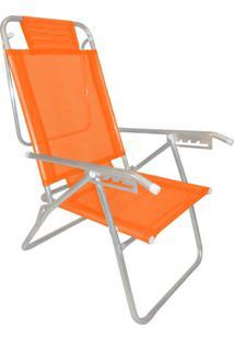 Cadeira Praia Reclinável Zaka Infinita Up Alumínio Até 100 Kg Laranja