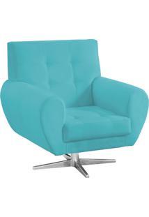 Poltrona Decorativa Beluno Suede Azul Tiffany Base Estrela Aço Cromado - D'Rossi