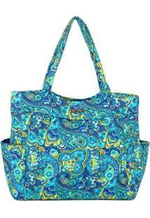 Bolsa Tote-Shopper Matelassê Ombro Espaçosa Feminina - Feminino-Azul Claro