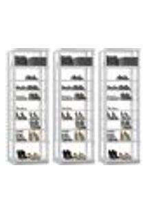 Kit 03 Módulos Sapateira Para Closet Clothes 1009 Branco Be Mobiliario