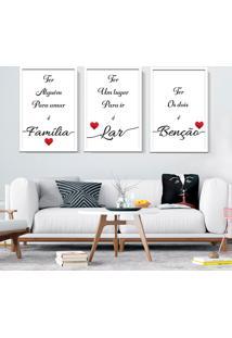 Quadro 60X120Cm Amor Família Benção Frases Moldura Branca