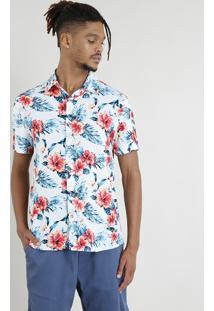 Camisa Masculina Manga Curta Estampada Floral Tropical Azul Claro