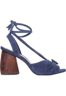 Sandália Feminina Amarração Botão - Azul