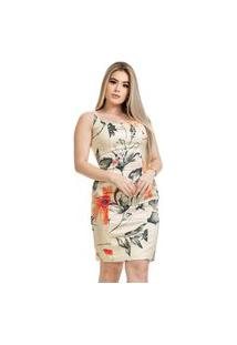 Vestido Clara Arruda Tubinho Decote Quadrado Estampado 50606 Multicolorido