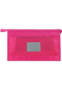 Nécessaire De Viagem- Pink Cinza- 26X16X8Cm- Jjacki Design
