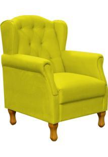 Poltrona Decorativa Para Sala De Estar Lyam Decor Yara Suede Amarelo