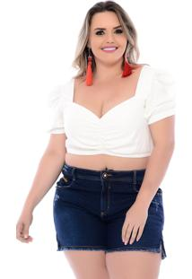 Top Cropped Plus Size Princesa Off White Join Curves