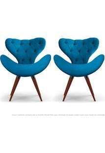 Kit De 02 Poltronas Decorativas Cadeiras Egg Com Capitonê Azul Turquesa Com Base Fixa De Madeira