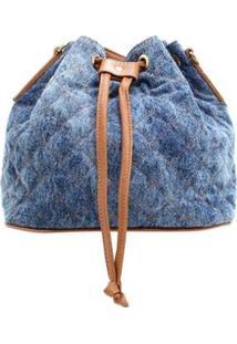 Bolsa Jeans Birô Saco Pequena Feminina - Feminino-Azul