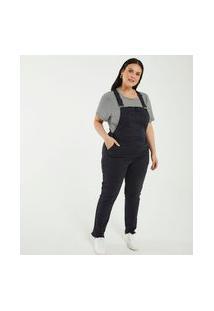 Macacão Jardineira Em Sarja E Com Bolso Curve & Plus Size | Ashua Curve E Plus Size | Preto | 52