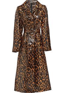 Miu Miu Trench Coat Com Animal Print - Marrom