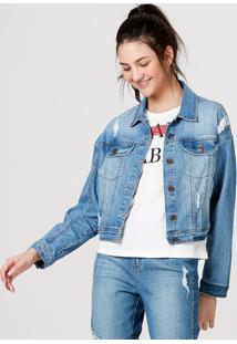 Jaqueta Feminina Em Jeans De Algodão Com Bolso