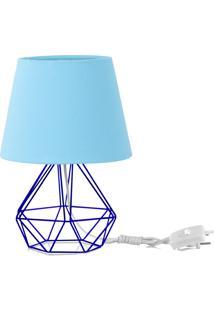 Abajur Diamante Dome Azul Bebe Com Aramado Azul - Azul - Dafiti