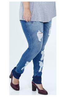 6ad53b1c7 Calça Feminina Jeans Skinny Puídos Bordado Plus Size Mix Jeans