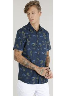 Camisa Masculina Estampada De Coqueiro Com Bolso Manga Curta Azul Marinho