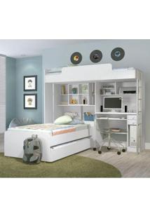Dormitório Infantil 3 Peças - Santos Andirá Teen C7 Branco