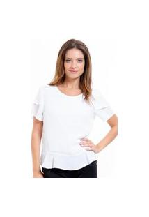 Blusa 101 Resort Wear Crepe Manga Curta Evase Em 2 Folhas Off White