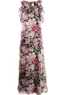 P.A.R.O.S.H. Vestido Longo Com Estampa Floral E Babados Na Gola - Preto